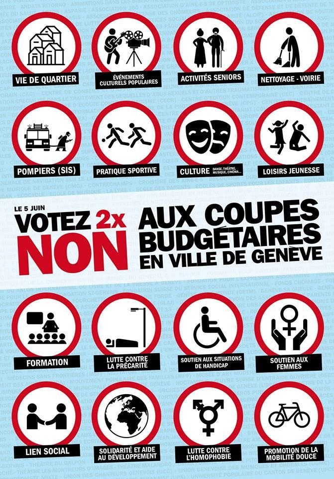 NON AUX COUPES BUDGETAIRES EN VILLE DE GENEVE – les organisations de jeunesse mobilisées pour la votation du 5 juin